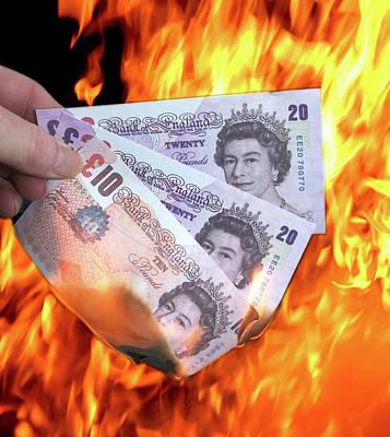 Burning Money Photograph - Money Burning, Cash Inflation by David Cole