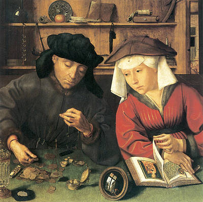 Money Changer And His Wife Art Print by Quentin Metsys