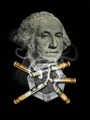 Digital Art - Money Up In Smoke by James Larkin