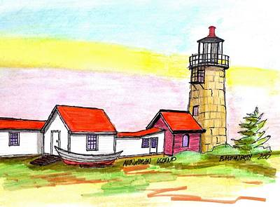 Drawing - Monhegan Island Light by Paul Meinerth