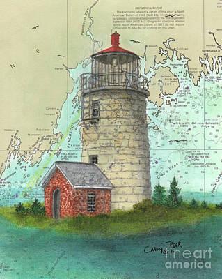 Monhegan Island Lighthouse Nautical Chart Map Maine Print by Cathy Peek