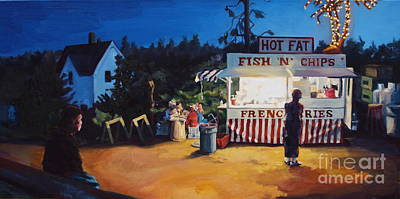 Maine Landscapes Painting - Monhegan Meal by Patricia A Griffin