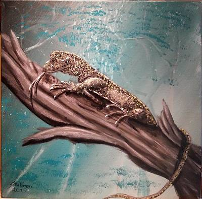 Monitor Lizard On The Branch Art Print by Judit Szalanczi