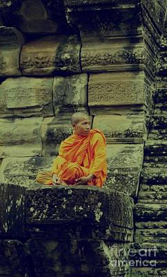 Photograph - Monk At Angkor Wat by Louise Fahy