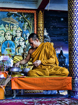 Photograph - Monk At Big Buddha  by Charlene Mitchell