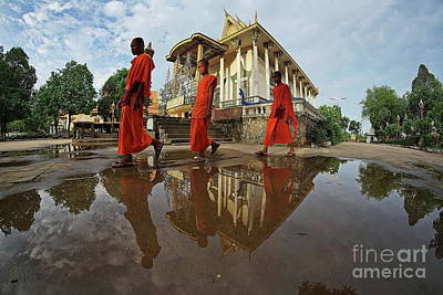 Photograph - Monk Back Home by Arik S Mintorogo