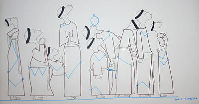 Drawing - Monk Bus Stop Blues by Gloria Ssali