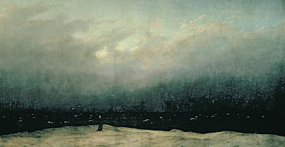 Clergy Painting - Monk By Sea by Caspar David Friedrich