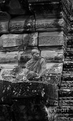 Photograph - Monk In Black And White by Louise Fahy