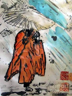 Monk In Rain, Chinese Watercolor Art Print