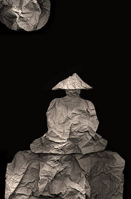 Photograph - Monk Meditates Under Full Moon by Peter Cutler