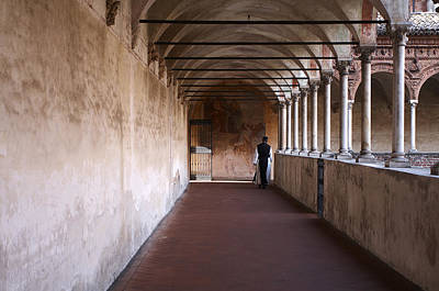 Photograph - Monk Walking In The Cloister by Roberto Pagani