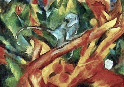 Painting - Monkey After Franz Marc 1912 by Tracey Harrington-Simpson