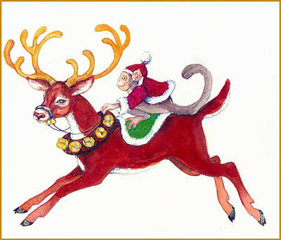 Painting - Monkey And Reindeer  by Peggy Wilson