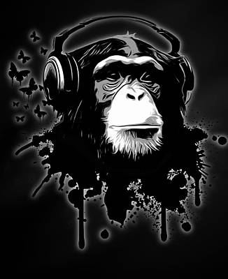 Chimpanzee Digital Art - Monkey Business - Black by Nicklas Gustafsson