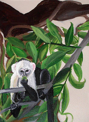 Painting - Monkey Detail 2 From Mural by Anne Cameron Cutri