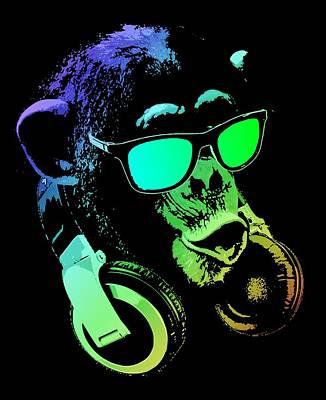 Chimpanzee Mixed Media - Monkey Dj Neon Light by Filip Hellman