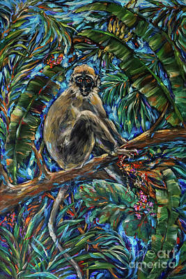 Painting - Monkey Eating Berries by Linda Olsen