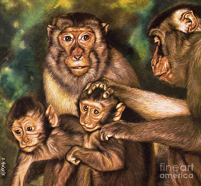 Caring Mother Painting - Monkey Family by David Nockels