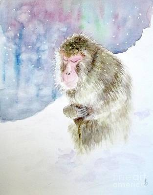 Art Print featuring the painting Monkey In Meditation by Yoshiko Mishina