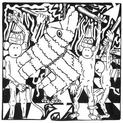 Monkey Pinata Party Art Print by Yonatan Frimer Maze Artist
