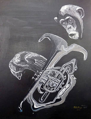 Painting - Monkey Playing Tuba by Richard Le Page