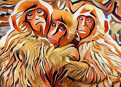 Pets Art Digital Art - Monkey Selfie by Yury Malkov
