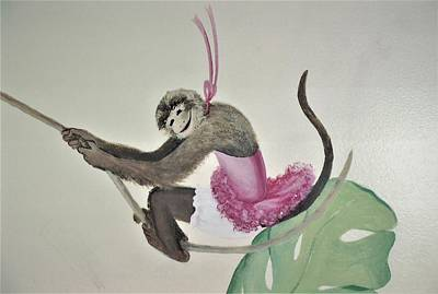 Painting - Monkey Swinging In The Trees by Suzn Art Memorial
