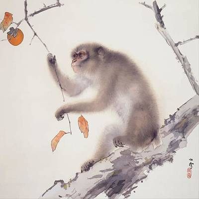 Painting - Monkey Vector After Hashimoto Kansetsu by Tracey Harrington-Simpson