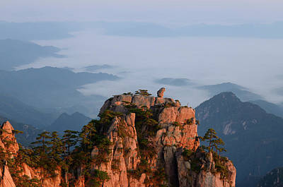 China Photograph - Monkey Watching The Sea Peak At First Light With Fog In Valley A by Reimar Gaertner