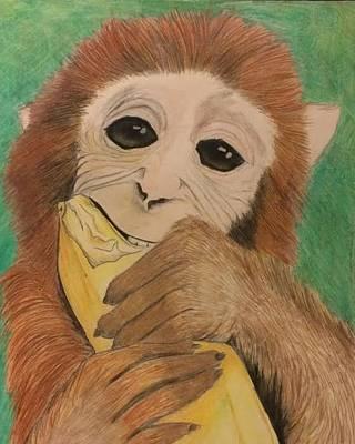 Cute Monkey Drawing - Monkey With Banana by Kathy Loop