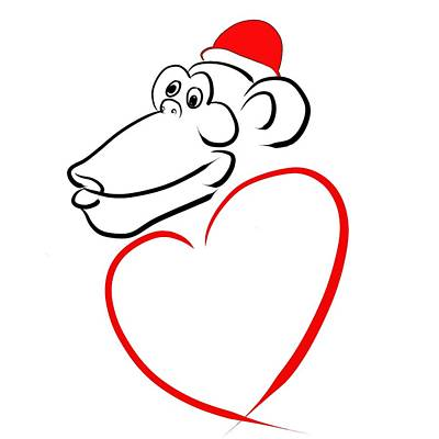 Year Of The Monkey Digital Art - Monkey With Love by Alexandr Az