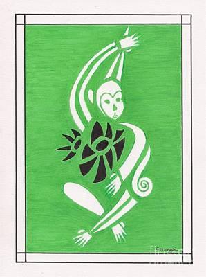 Monkeying Around -- Whimsical Stylized Monkey Art Print