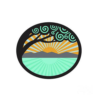 Monkeypod Tree Mountain Sea Sunrise Oval Retro Art Print