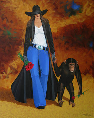Wyoming Painting - Monkeys Best Friend by Lance Headlee