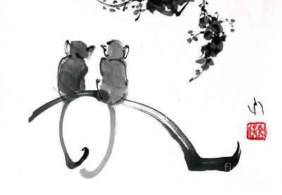 Monochrome Painting - Monkeys by Fumiyo Yoshikawa
