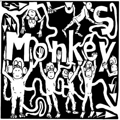 Frimer Drawing - Monkeys Maze For M by Yonatan Frimer Maze Artist