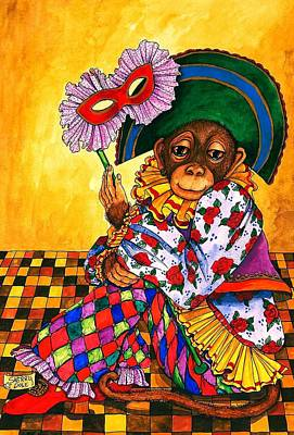 Mardi Gras Painting - Monkeyshines by Sherry Dole