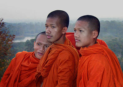 Photograph - Monks At Angkor Wat by Dusty Wynne