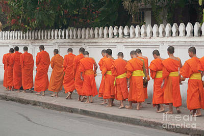 Sangha Photograph - Monks Collecting Morning Alms In Luang Prabang by Roberto Morgenthaler