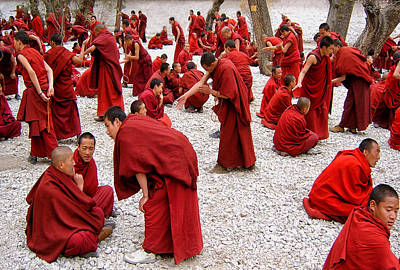 Monk Photograph - Monks Debating by Yvette Depaepe