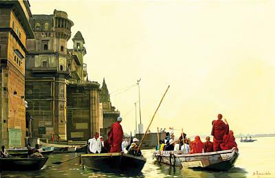 Monks In Varanasi Original by Dominique Amendola