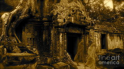 Monks Leaving Angkor Wat Art Print