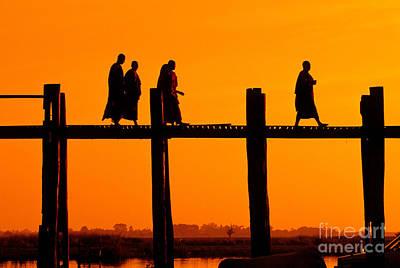 Bridge Pilings Photograph - Monks, Myanmar by Inga Spence