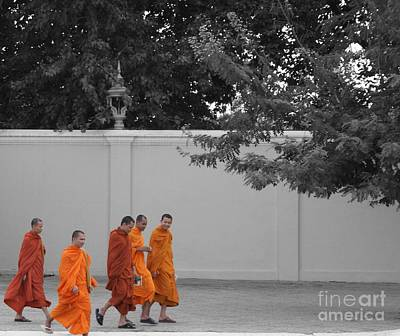 Monks On The Way Home Art Print