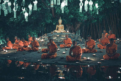 Photograph - Monks Praying For World Peace by Julien ORRE
