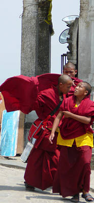 Sangha Photograph - Monks' Reality Check  by Dagmar Batyahav