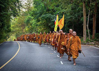 Lee Craker Royalty-Free and Rights-Managed Images - Monks trekking across Thailand by Lee Craker