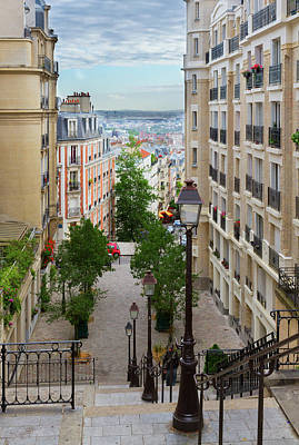 Paris Skyline Royalty-Free and Rights-Managed Images - Monmartre Street in Paris by Anastasy Yarmolovich