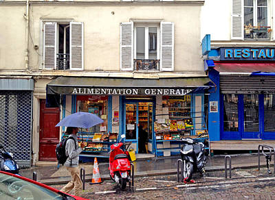 Photograph - Monmartre Street In Paris On A Rainy Day by Barbara Budish
